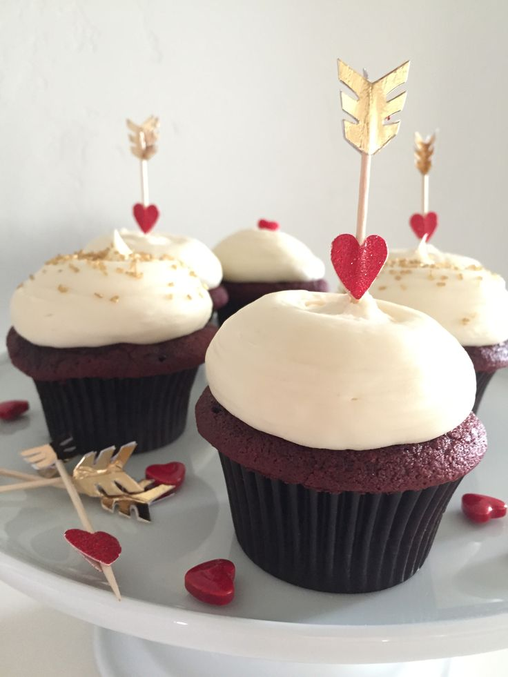Arrow Topped Red Velvet Cupcakes