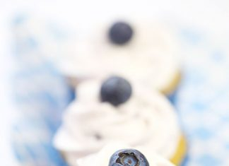 Blueberry Topped Vanilla Cupcakes