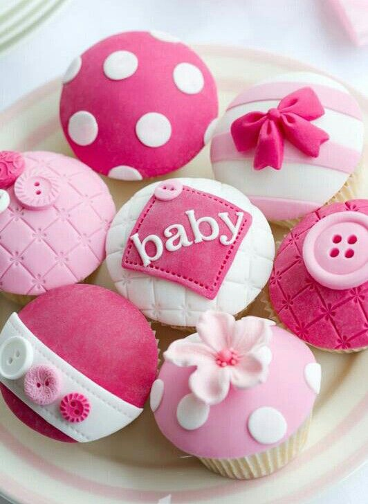 Bow Baby Shower Cupcakes