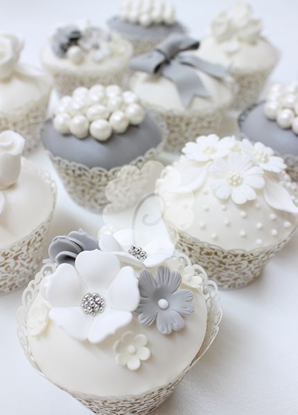 Gray and White Floral Cupcakes