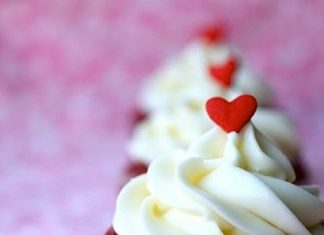 Little Hearts in Red Velvet Cupcakes