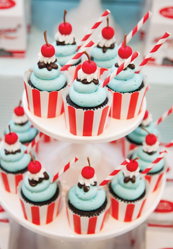 50s Theme Party Cupcakes