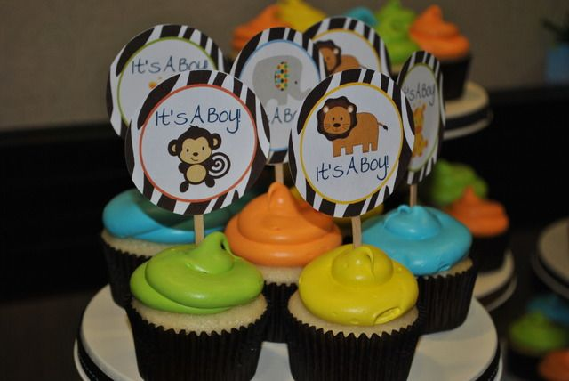 Animal Baby Shower Cupcakes