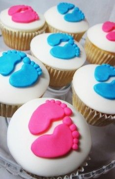 Blue And Pink Baby Shower Cupcakes