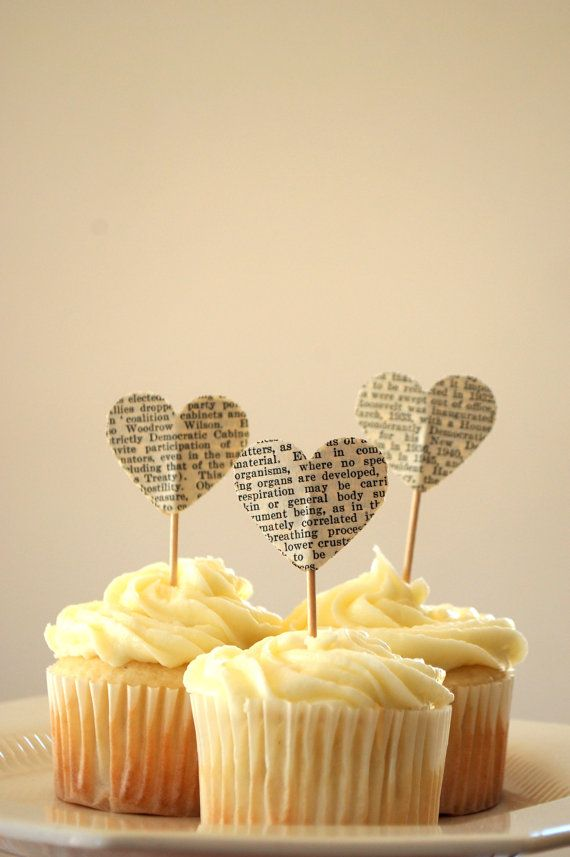 Book Page Heart Cupcakes
