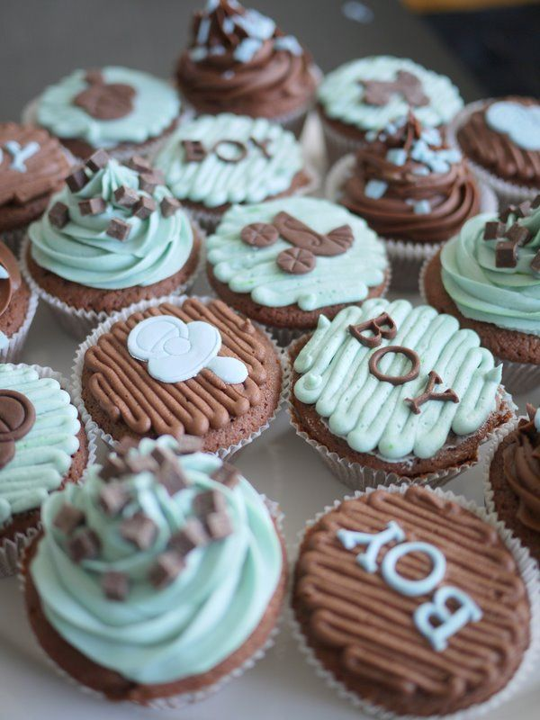 Chocolate Baby Shower Cupcakes
