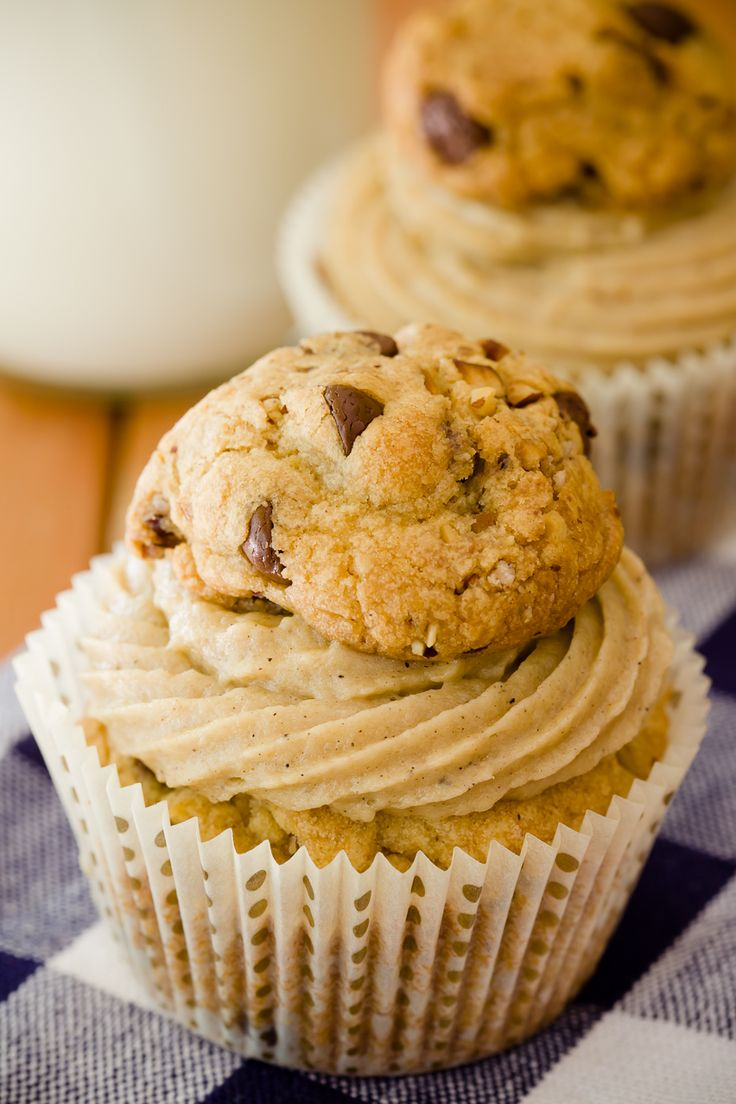 Chocolate Chip Cookie Topped Cupcake