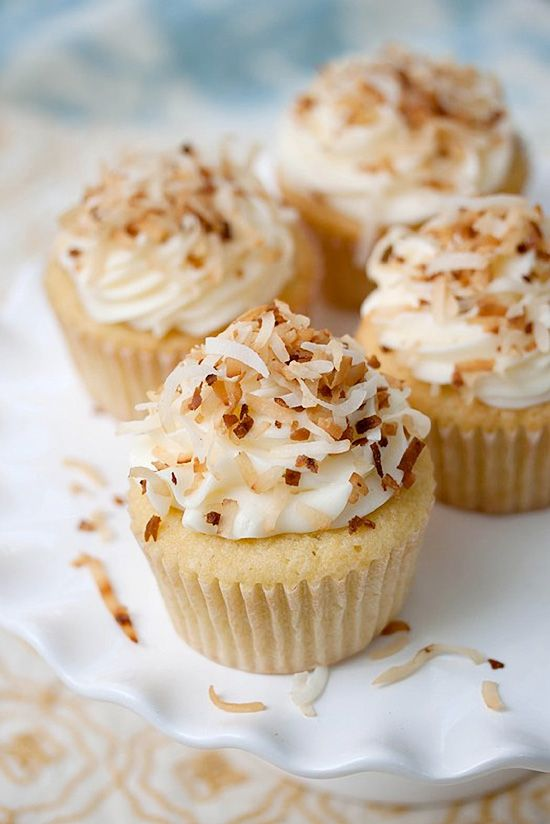 Coconut Cream Cheese Frosted Cupcakes