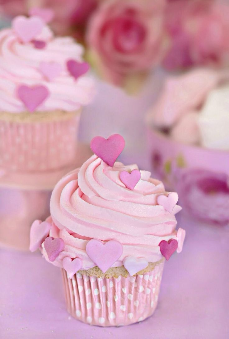 Collection of Pink Heart Cupcakes