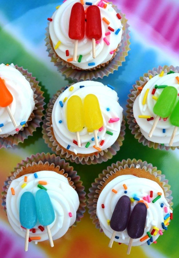 Colorful Popsicle Cupcakes