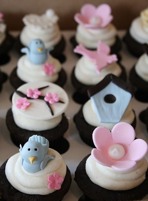 Cute Bird Themed Baby Shower Cupcakes