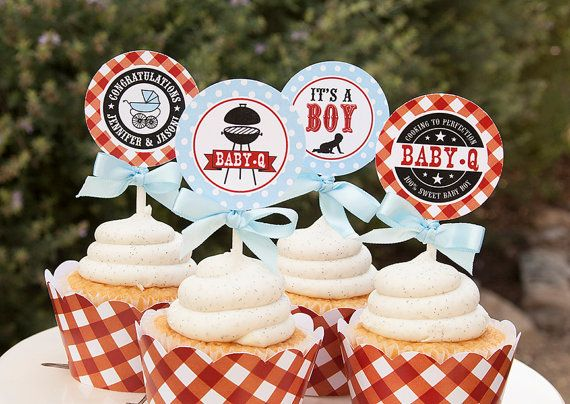 Cute Boy Baby Shower Cupcake-Toppers
