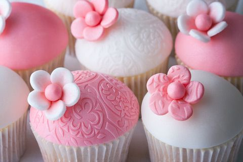 Cute Pink Flower Topped Baby Shower Cupcakes