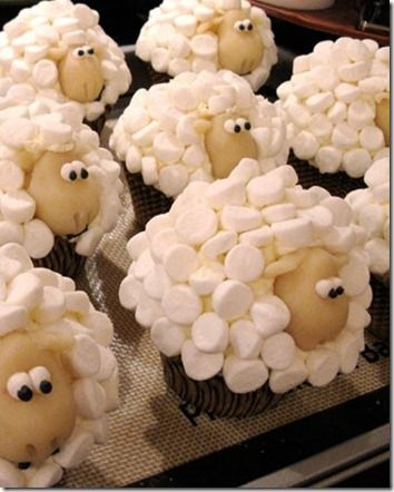 Cute Sheep Baby Shower Cupcakes