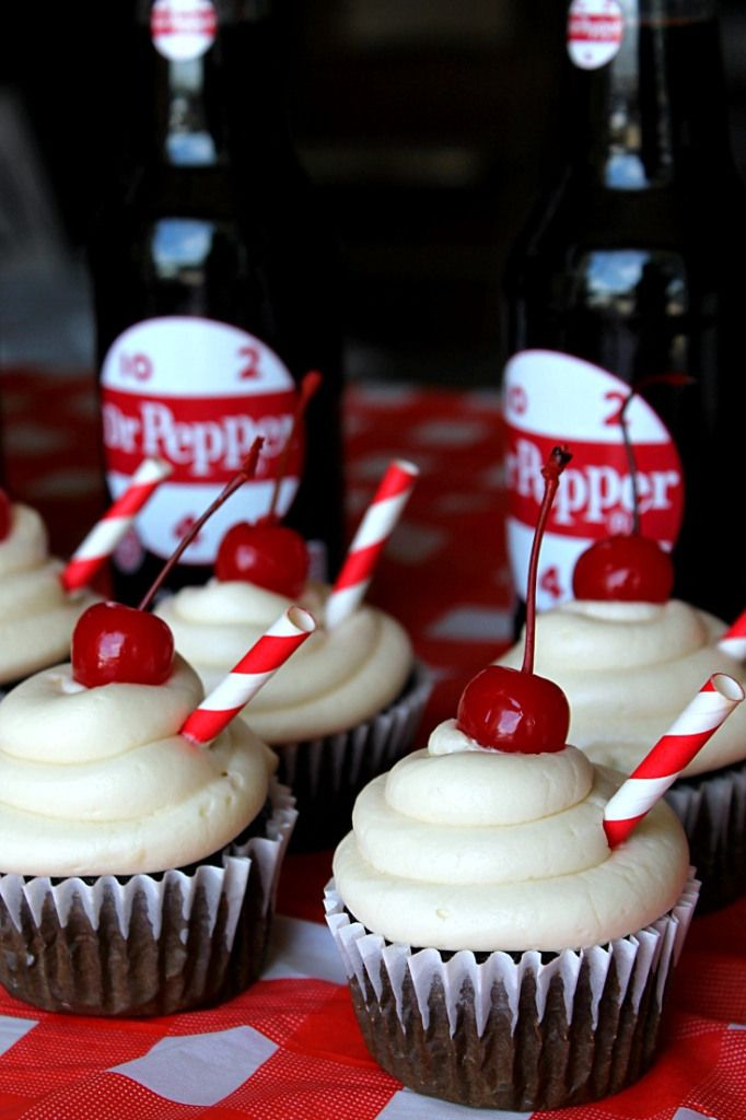 Dr Pepper Cherry Cupcakes