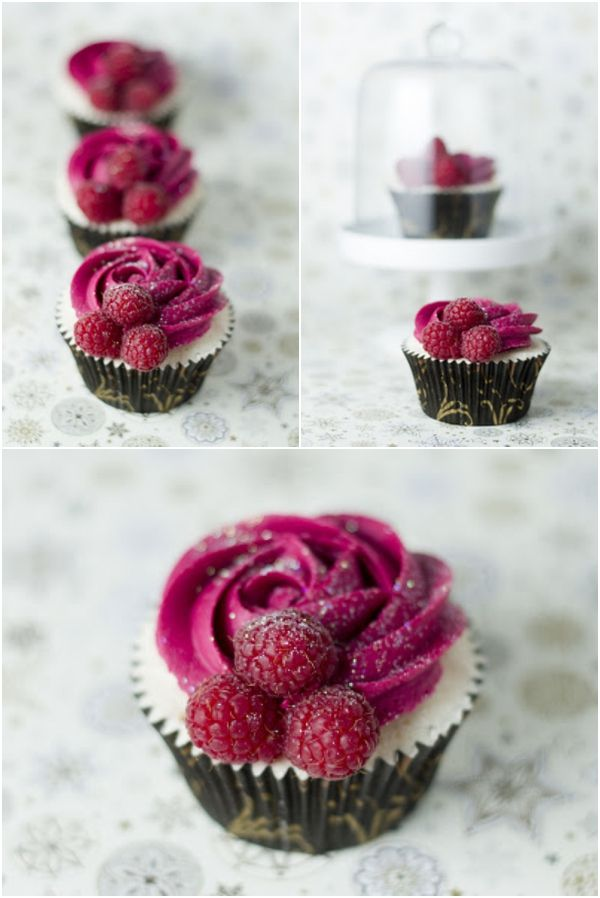 Gorgeous Champagne and Raspberry Cupcakes