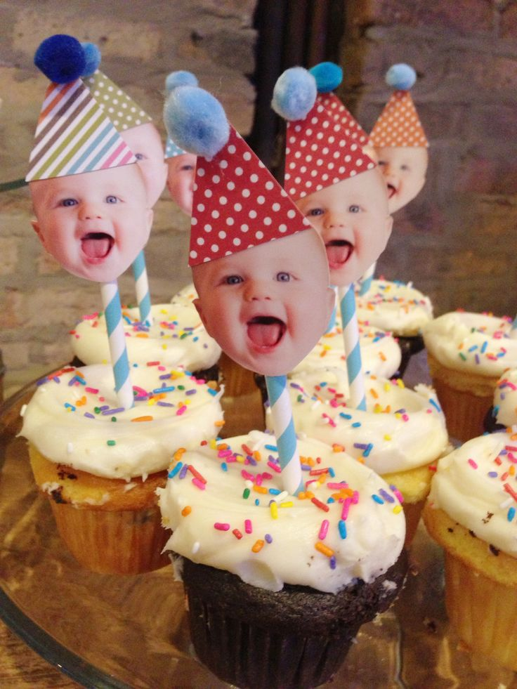 Kid Face Topped Birthday Party Cupcakes