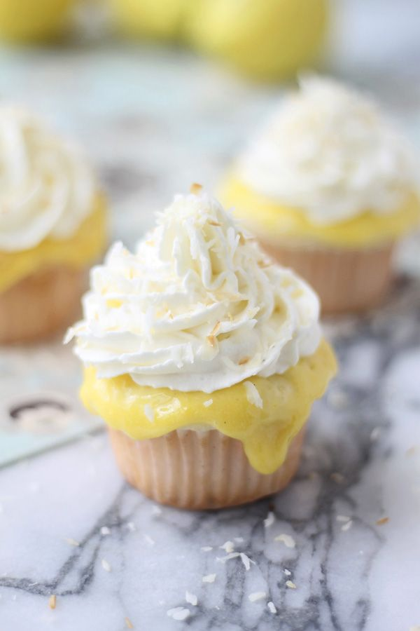 Lemon Curd Whipped Coconut Cupcakes