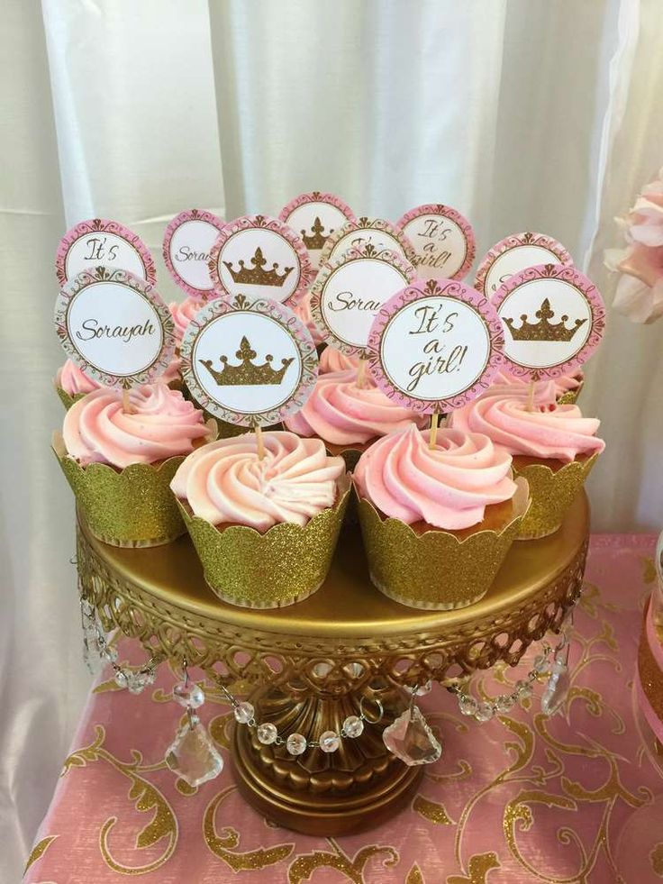Pink And Gold Girl Baby Shower Cupcakes
