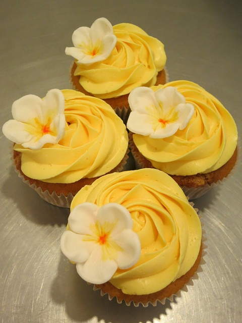 Sweet Yellow Floral Cupcakes