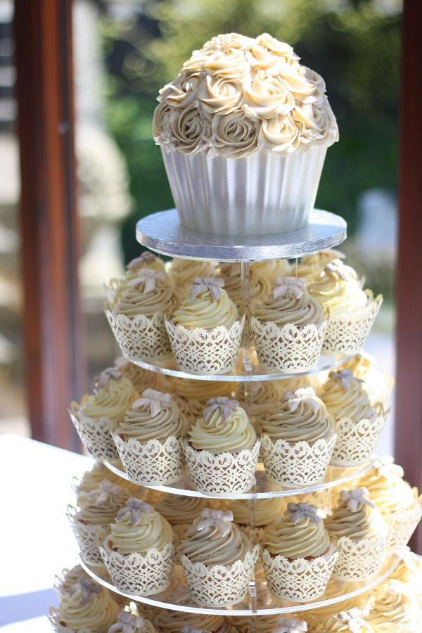 Yellow and Gray Floral Cupcakes