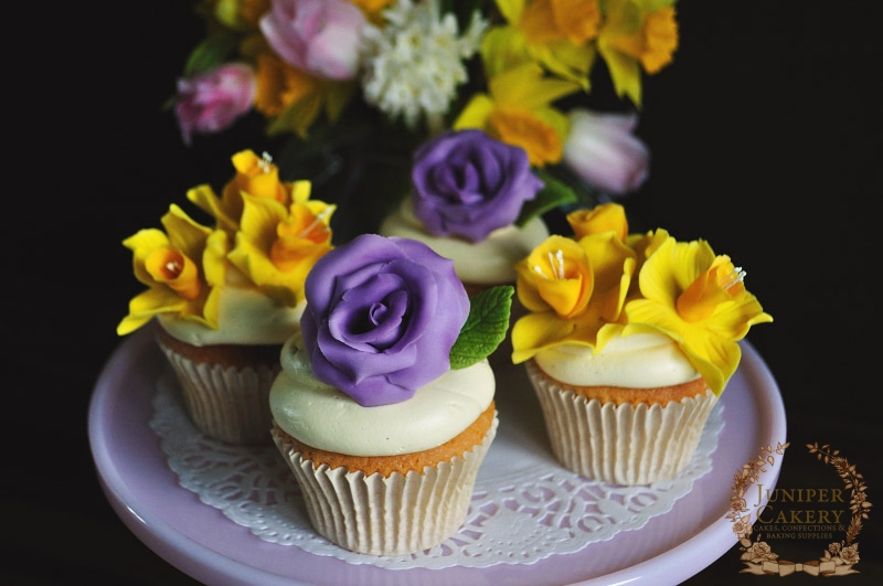 Daffodil And Rose Cupcakes