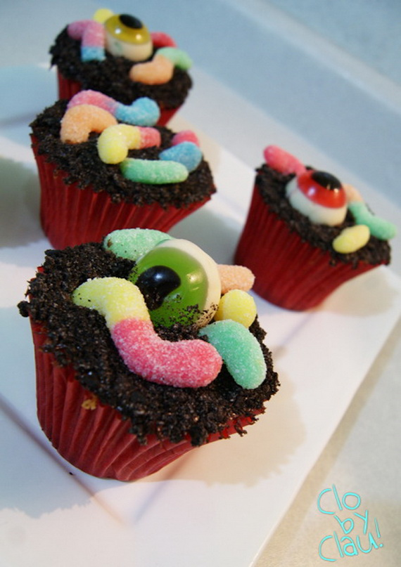 Spooky Eyeball And Worms Cupcakes
