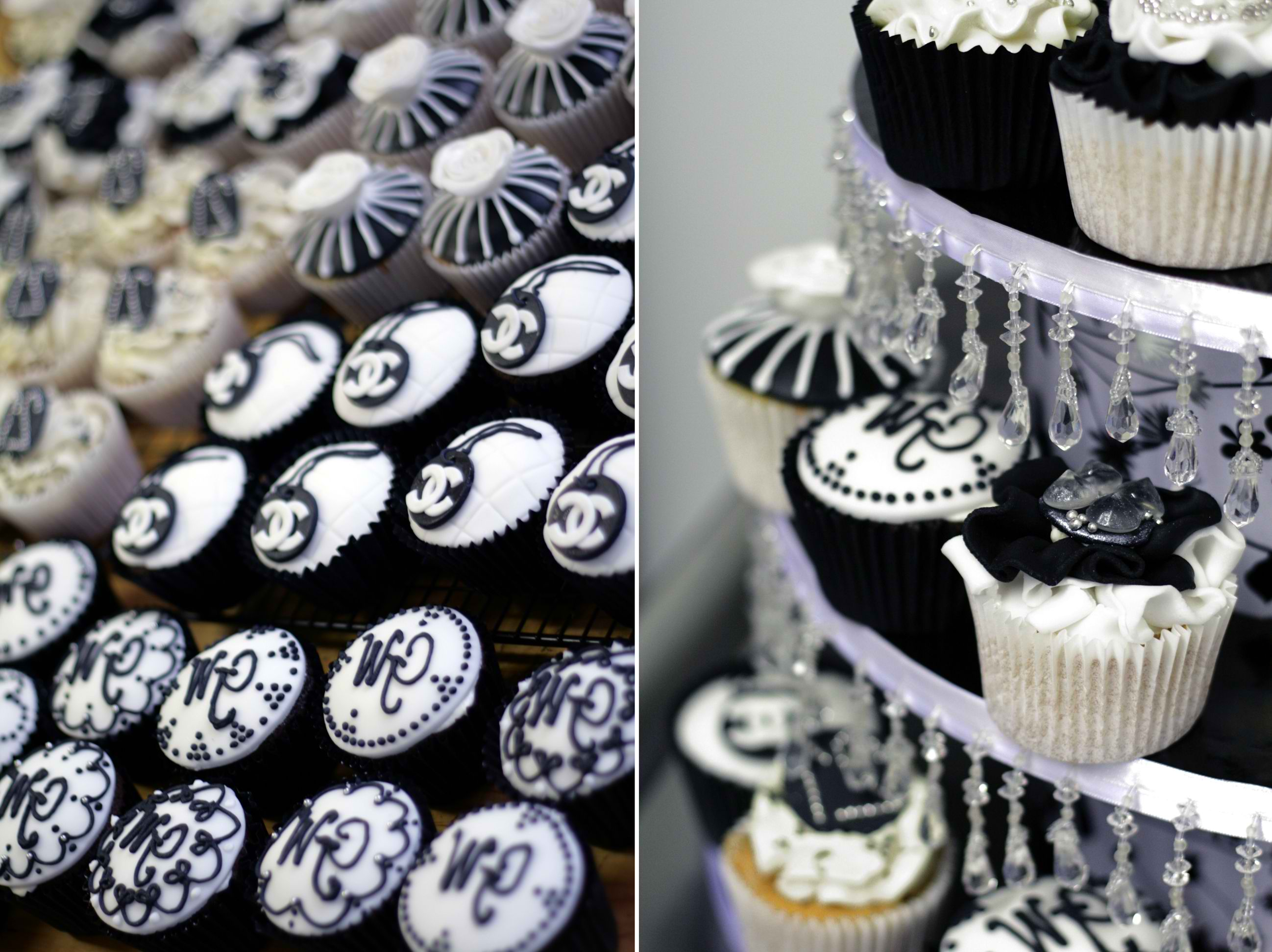 Black and White Couture Cupcakes