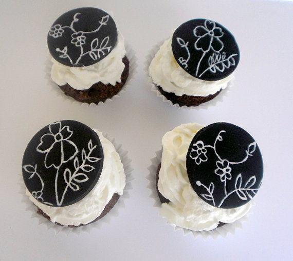 Black and White Fondant Wedding Cupcake Toppers