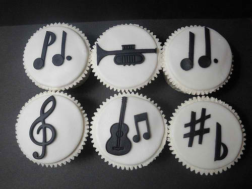 Black and White Music Cupcakes