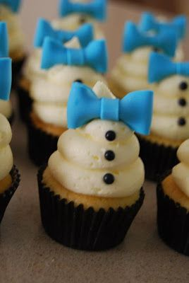 Blue Bow Cupcakes