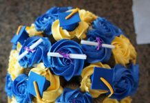 Blue and Yellow Graduation Cupcake Bouquet