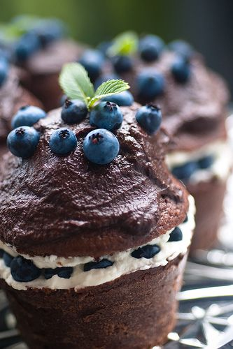 Blueberry Cream Filled Chocolate Cupcakes