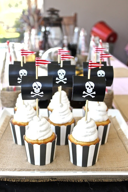 Captain Hook Pirate Party Cupcake Toppers