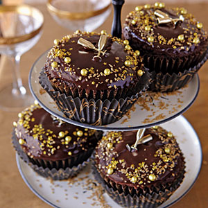 Chocolate Cupcakes with Mini Champagne Bottles