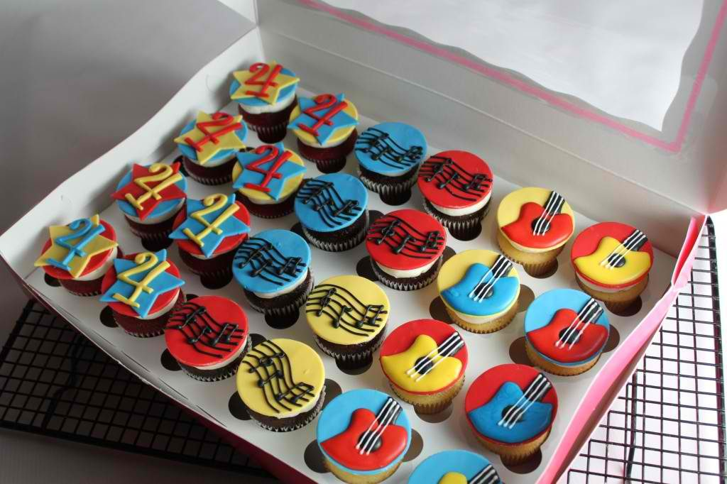 Colorful Cupcakes For Musical Birthday Party