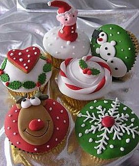 Colorful Cute Christmas Cupcake Toppers