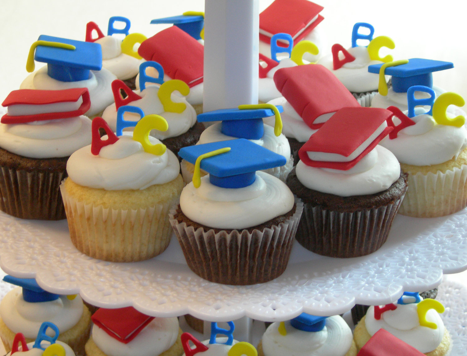 Colorful Kindergarten with ABC and Mini Storybook Topper Cupcakes