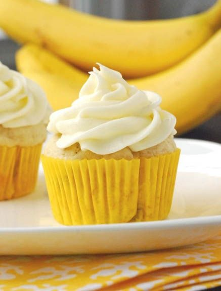 Cream Cheese Frosted Banana Cupcakes