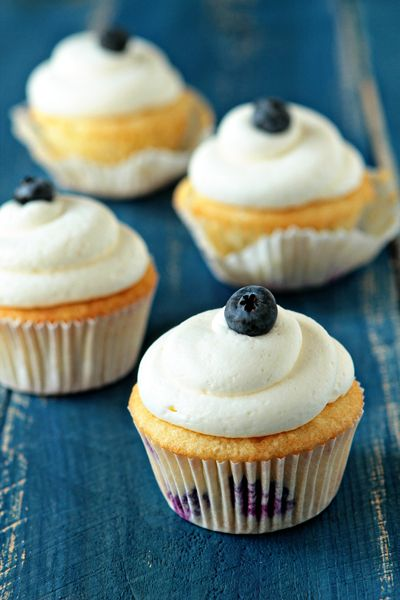 Cream Cheese Frosted Blueberry Cupcakes