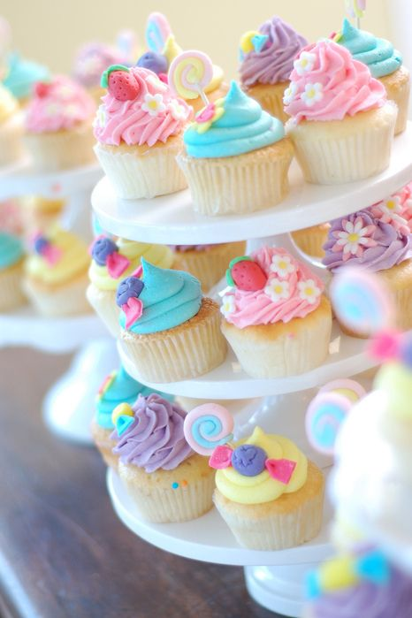 Cute Fluffy Colorful Cupcakes