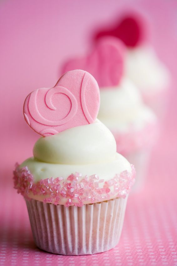 Cute Pink Heart Topped Cupcakes