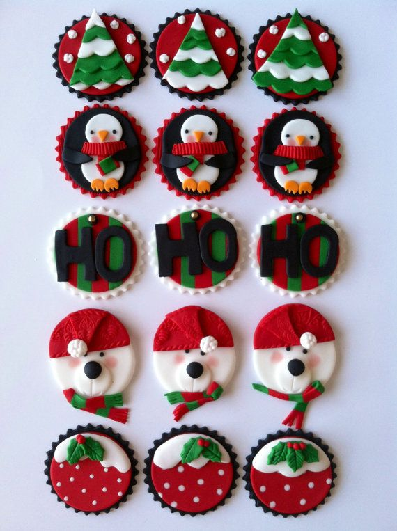 Cute Winter Christmas Cupcake Toppers
