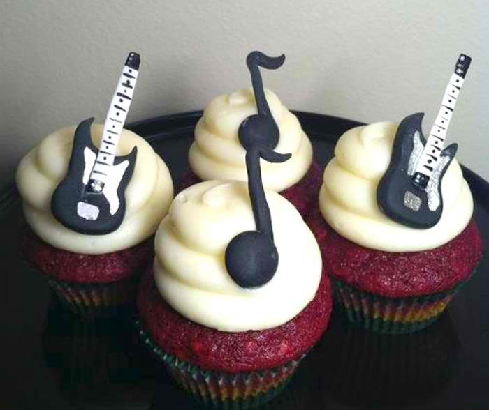 Electric Guitar and Eighth Note Cupcakes