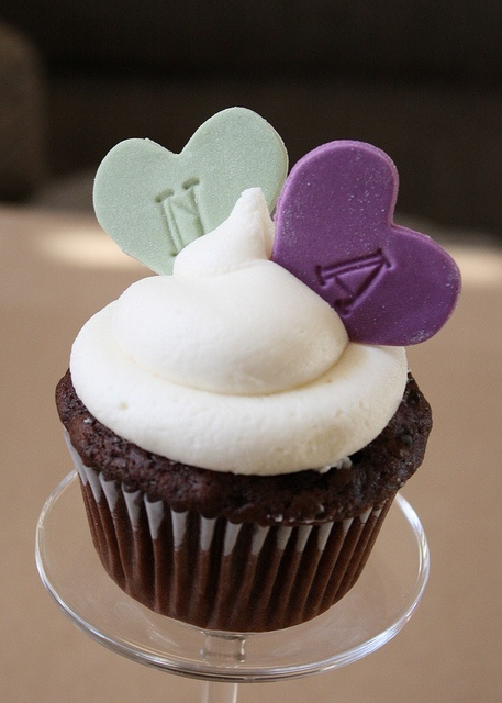 First Letter Printed Heart Cupcakes