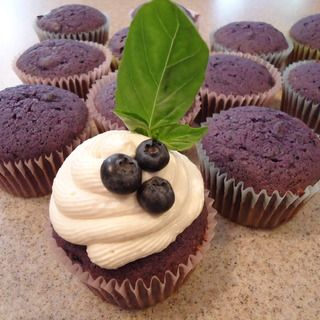 Goat Cheese Frosted Blueberry Cupcakes