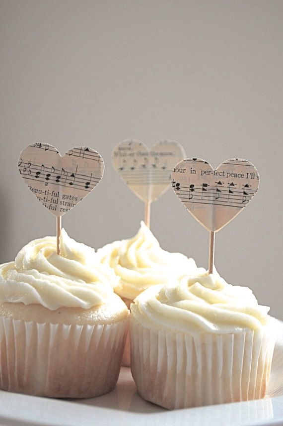 Heart Cupcakes for Music Lovers