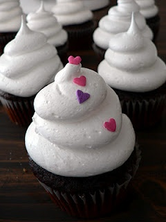 Heart Sprinkled On White Cloud-Icing-Cupcakes