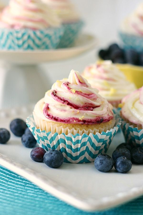 Lemon Buttercream Frosted Blueberry Cupcakes