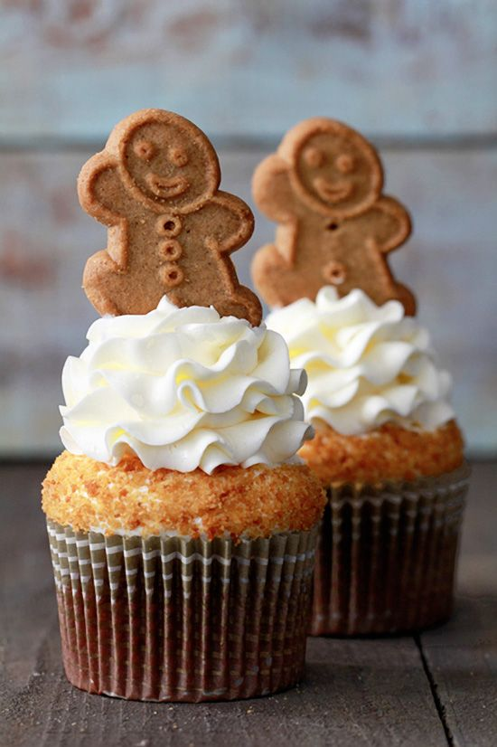Lemon Cream Frosted Gingerbread Latte Cupcakes